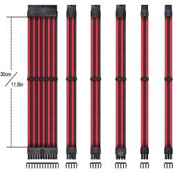 Siyah / Kırmızı Sleeve Güç kaynağı uzatma seti